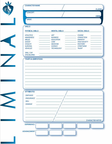 Liminal: Character Sheet (Free) - Modiphius Entertainment