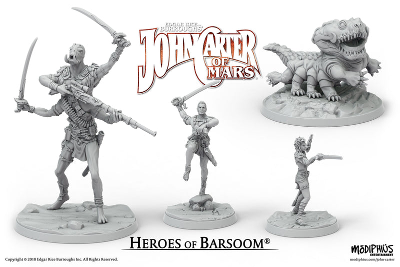 John Carter Miniatures: Heroes of Barsoom Miniatures Set - Modiphius Entertainment