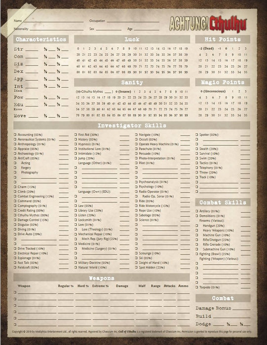 Achtung Cthulhu 7th Edition Character Sheets Free