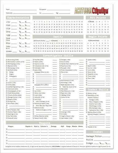 Achtung! Cthulhu 7th Edition Character Sheets (FREE) - Modiphius Entertainment