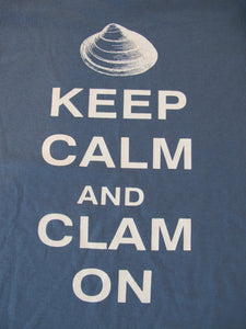 """Keep Calm and Clam On"" Indigo Blue T-Shirt"