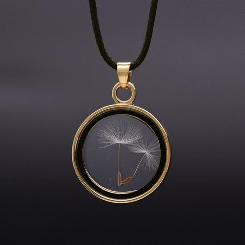 18K Gold Dandelion Locket Necklace