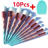 10PCS Green Make Up Brushes Kit Tool+ Brush Cleaner