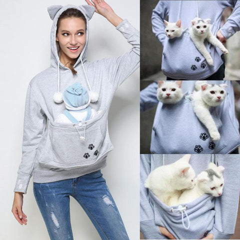 Cat Pouch Hoodie for Women