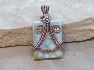 CD0324 ~ Large Handmade Fossil Coral Free Formed Wire Wrapped with Copper Oblong Pendant