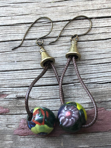 CD0106 ~ Vintage Lamp Work Glass Beaded Earrings