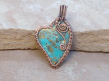 "Load image into Gallery viewer, CD0325 ~ Large Handmade Blue Gold Copper Bornite ""Peacock Ore"" Gemstone Free Formed Wire Wrapped with Copper Heart Pendant"