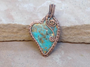 "CD0325 ~ Large Handmade Blue Gold Copper Bornite ""Peacock Ore"" Gemstone Free Formed Wire Wrapped with Copper Heart Pendant"