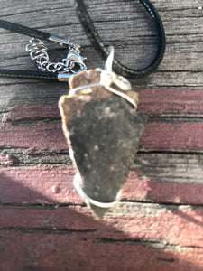CD0225   Wire Wrapped Dendritic Jasper Arrowhead Necklace
