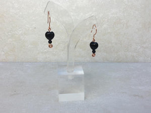 CD0356  Hand Crafted Rainbow Obsidian Gemstone Raw Copper Wired Earrings