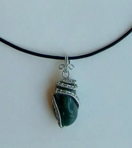 CD0250  Hand Crafted Wire Wrapped Natural Green Aventurine Stone Pendant in Sterling Silver Wire