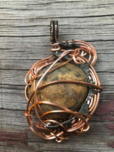 Load image into Gallery viewer, CD0281  Copper and Hematite Plated Wire Wrapped Stromatolite Fossil Gemstone Pendant