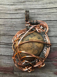 CD0281  Copper and Hematite Plated Wire Wrapped Stromatolite Fossil Gemstone Pendant