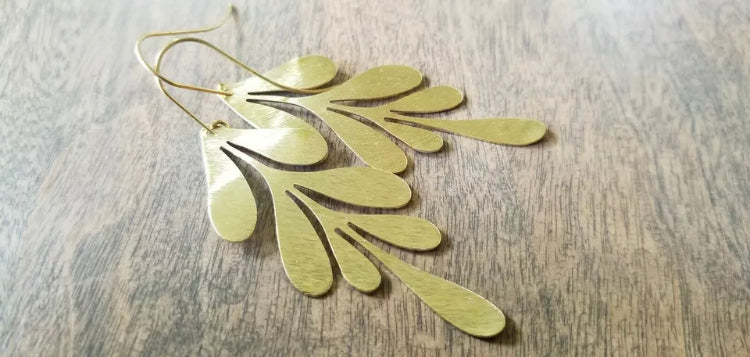 CD0247 ~ Hand Crafted and Textured Brass Leaf Earrings