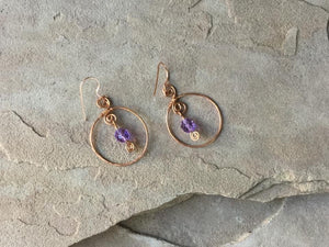 "CD0357  Hand Crafted ""Color Changing"" Alexandrite Gemstone Wrapped in Raw Copper Earrings"