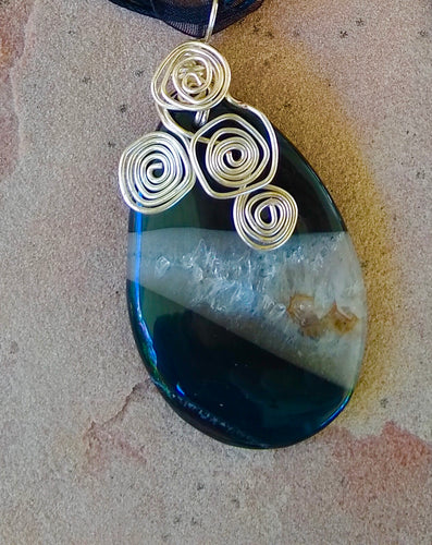 CD0228 ~ Hand Wrapped Quartz and Onyx Gemstone Teardrop Pendant