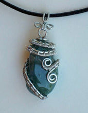 Load image into Gallery viewer, CD0250  Hand Crafted Wire Wrapped Natural Green Aventurine Stone Pendant in Sterling Silver Wire