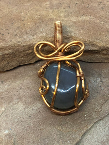 CD0322  Free Formed Copper Bow Wire Wrapped and Weaved Tumbled Stone Pendant