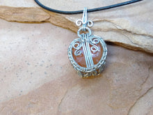 Load image into Gallery viewer, CD0283  Free Formed Silver Wire Wrapped Carnelian Stone Pendant and Black Leather Necklace