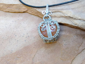 CD0283  Free Formed Silver Wire Wrapped Carnelian Stone Pendant and Black Leather Necklace