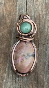CD0509  Hand Crafted Rhodonite/Jade Wire Wrapped Copper Pendant