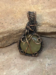 CD0319  Copper Free Formed Wire Wrapped Green Serpentine Gemstone Pendant