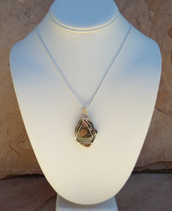 CD0243  Puddingstone Jasper Wire Wrapped Necklace