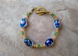 CD0128 Lamp Work Glass Beaded Bracelet