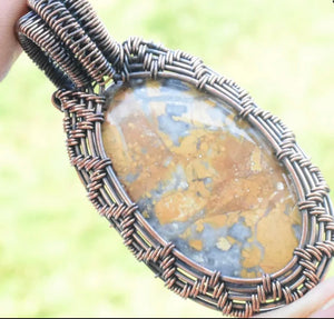 CD0505  Hand Crafted Maligano Jasper Gemstone Wire Wrapped/Weave Pendant