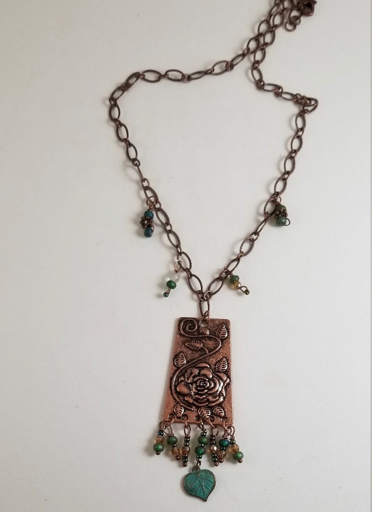 CD0307 ~ Handmade Copper and Czech Glass Beaded Necklace