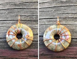 CD0359 -   Handmade Copper Wire wrapped Ocean Jasper Donut Gemstone Pendant