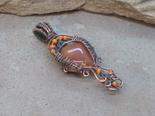 Load image into Gallery viewer, CD0332  Free Formed Copper with Carnelian Nugget and Czech Glass Beaded Pendant