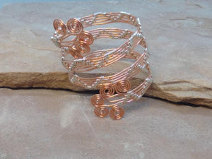 "CD0331  Free Formed Wire Wrapped Copper with German Silver ""Zigzags"" Bangle"