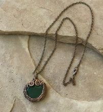 Load image into Gallery viewer, CD0504  Hand Crafted Malachite Wire Wrapped Copper Pendant