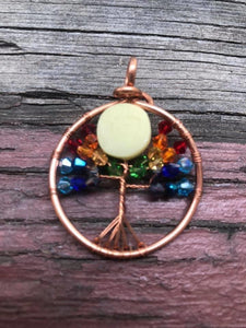 "CD0337 ~ Handmade Copper Wire Wrapped ""Chakra"" Tree of Life with Glow in the Dark Moon Pendant"