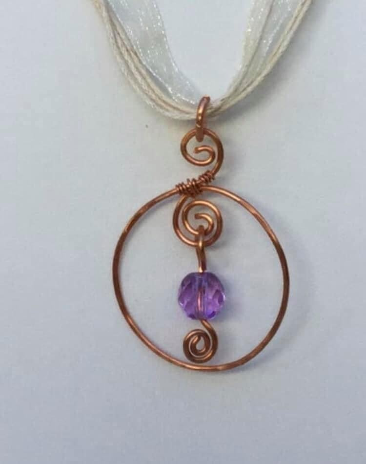 "CD0362 -  Hand Crafted ""Color Changing"" Alexandrite Gemstone Wrapped in Raw Copper Pendant"