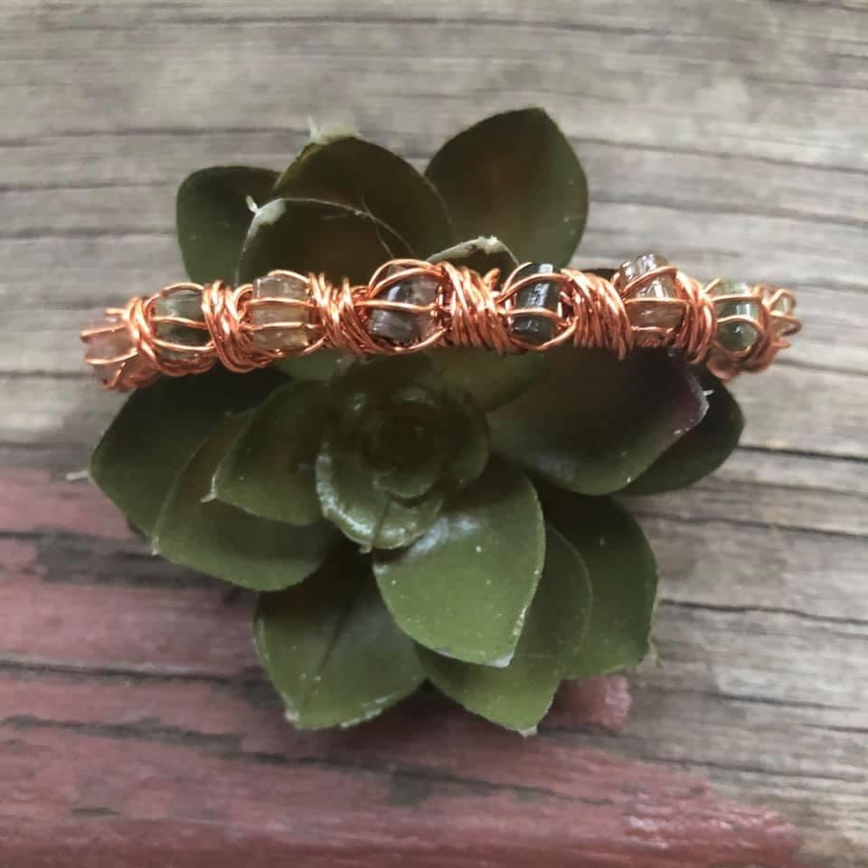 CD0346  Pure Copper Wire Wrapped Tourmaline Bracelet