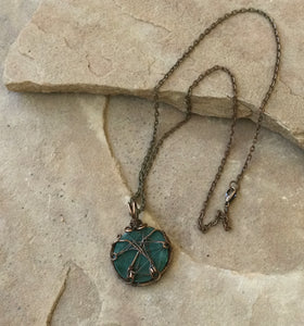 CD0504  Hand Crafted Malachite Wire Wrapped Copper Pendant