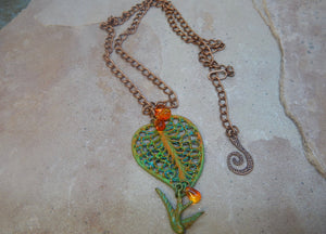 CD0185  Hand Altered Copper Leaf Czech Glass Beaded Necklace