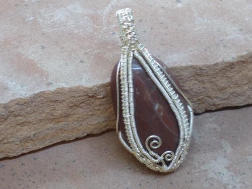 CD0326 ~ Large Handmade Free Formed Wire Wrapped will German Silver Wire Brown Jasper Tumbled Gemstone Nugget Pendant