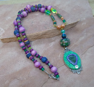 CD0268  Hand Crafted Mixed Polymer Clay and Czech Glass Beaded Necklace