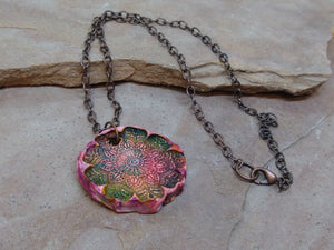 CD0275  Handmade Polymer Clay Mandala Painted Pendant/Copper Necklace
