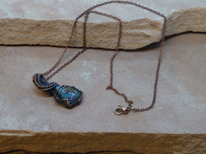 "CD0329  Hand Crafted ""Eye of Horus"" Wire Wrapped Pendant/Necklace"