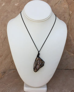 CD0354  Hand Crafted with Black Coated Copper Wire Mozarkite Gemstone Butterfly Pendant/Necklace