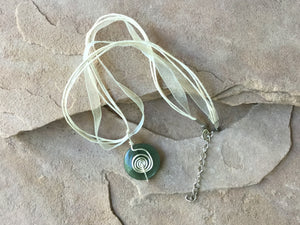 CD0365  Hand Crafted with German Silver Wire Wrapped Serpentine Pendant
