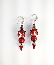 Load image into Gallery viewer, CD0101   Handmade Lamp Work Glass Flowered Paired with Czech Glass Beaded Earrings