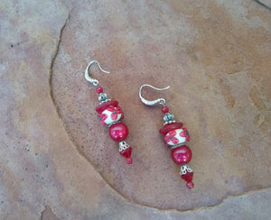 CD0101   Handmade Lamp Work Glass Flowered Paired with Czech Glass Beaded Earrings