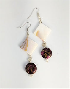 CD0107   MOP/Shell Squares Paired with Pink Tourmaline