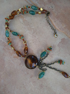 "CD0123  Vintage ""Circa 1970's"" Czech Glass Beaded Necklace"