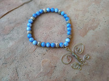 Load image into Gallery viewer, CD0124  Wire Wrapped Butterfly with Blue Agate Beaded Bracelet/Anklet